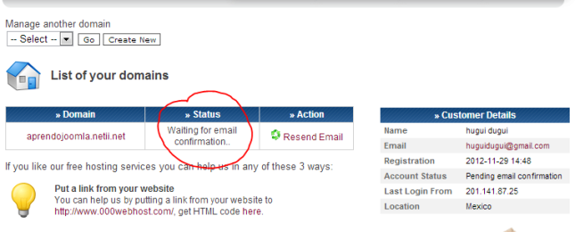 status: Waiting for email confirmation